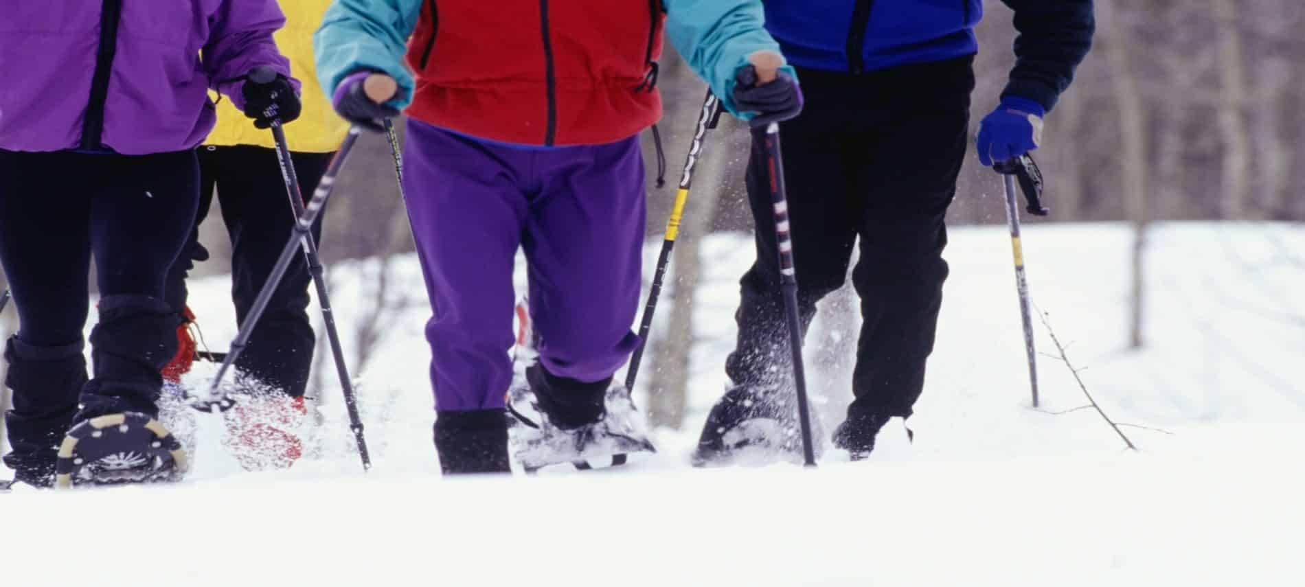 four people snowshoeing wearing colorful outdoor gear holding poles